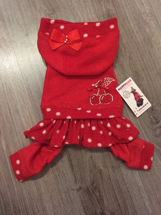 Red and polka dot dog pajamas with hood Small dog by AnnaHappydog