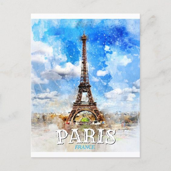 Paris France Eiffel Tower Vintage Watercolor Invitation Postcard Zazzle Com In 2021 Eiffel Tower Art Paris France Eiffel Tower Vintage Paris France Eiffel Tower
