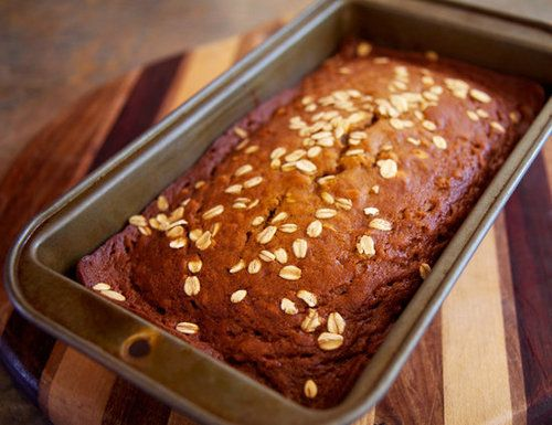 Adding rolled oats to this oatmeal pumpkin bread recipe ups the fiber content and imparts a satisfyingly chewy texture.