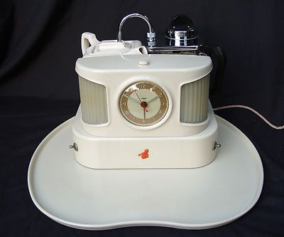 vintage coffee/tea maker, alarm clock and tray with lights....coolest thing ever!