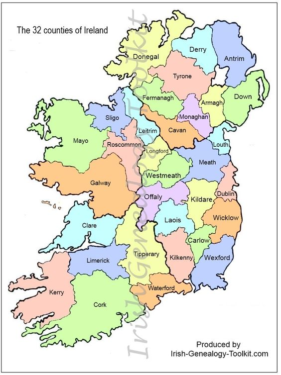 Ireland Map Showing Counties