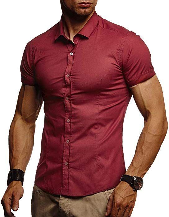 Jungen Basic Shirt Freizeit Sweater Sommerhemd Kurzarmshirt LN3800 Stylisches M/änner Freizeithemd Slim Fit Stretch Kurzarmhemd LEIF NELSON Herren Hemd Kurzarm Sommer T-Shirt Kentkragen
