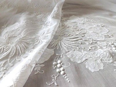 Breathtaking Antique French Hand Embroidered Appliqued Voile Tablecloth