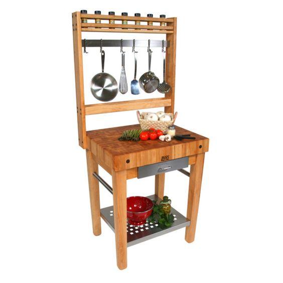 John Boos Cucina Americana chop block add pot rack like this to my old chop block