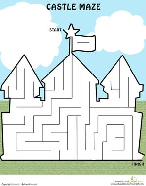 math worksheet : castle maze  maze worksheets and castles : Mazes For Kindergarten Worksheets