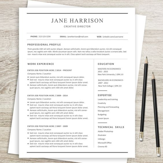 Resume Template CV Template and Cover Letter by ResumeBook - economics major resume