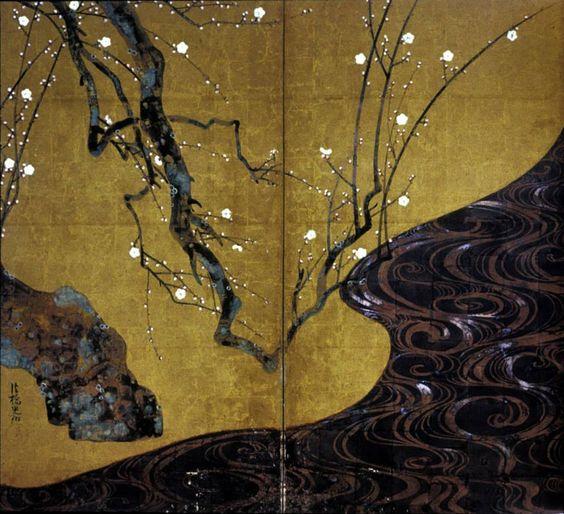 """Red & White Plum Blossoms"", Ogata Kōrin (1658–1716), of the Rinpa School."