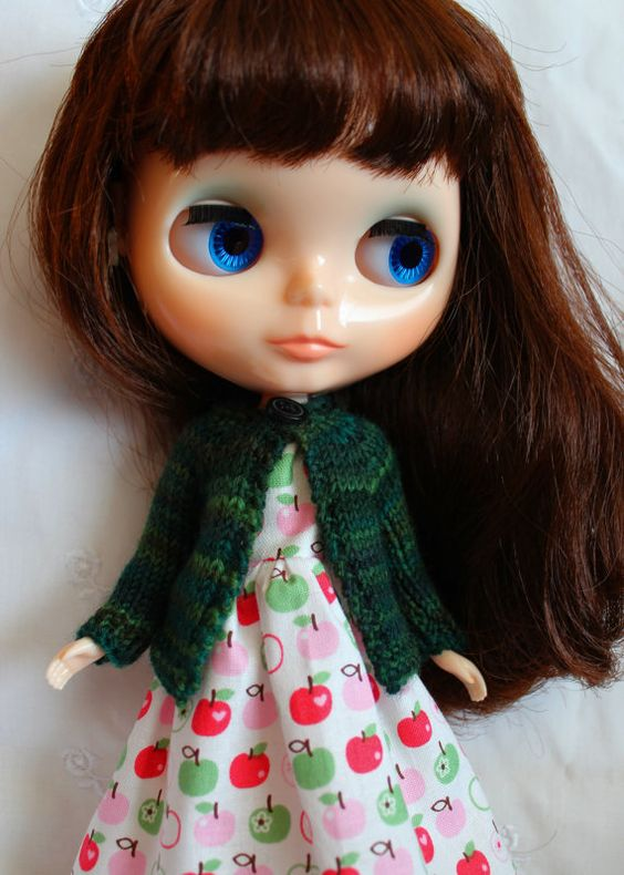 BLYTHE doll hand knit wool cardigan sweater Deep by TiredMomKnits