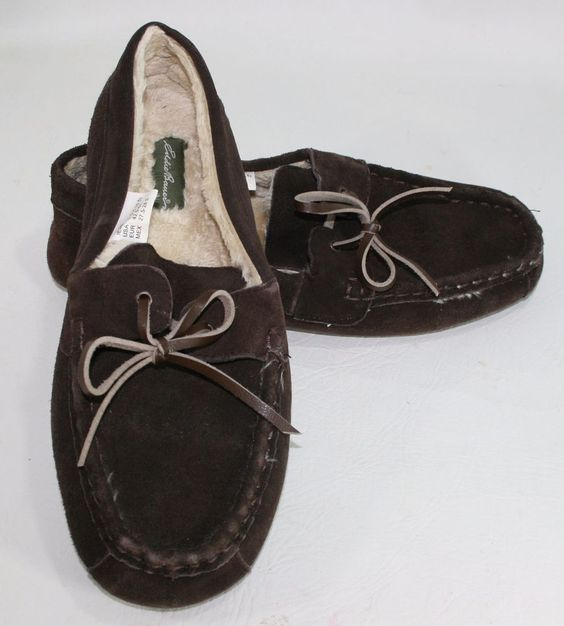 Mens Suede Leather Eddie Bauer Slippers Size L(9.5-10.5) Dark Brown #EddieBauer #MoccasinSlippers