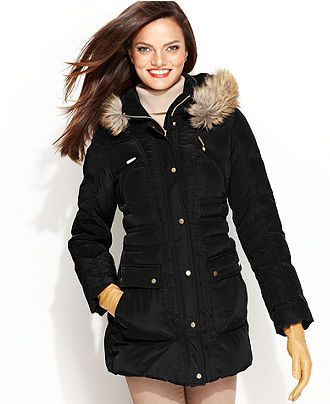 London Fog Coat, Faux-Fur Hooded Puffer Parka - Womens Coats ...