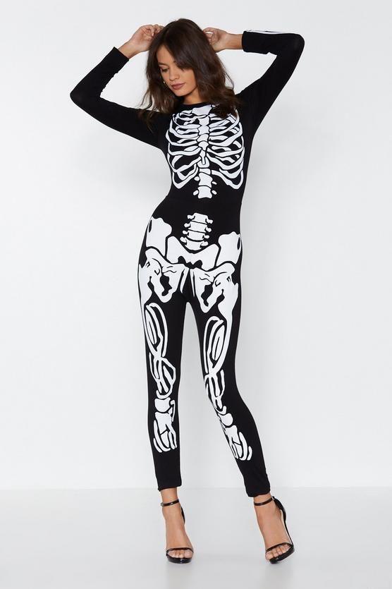 Womens Ladies UK Skeleton Bone Crop Top Skull Set Tights Outfit Halloween