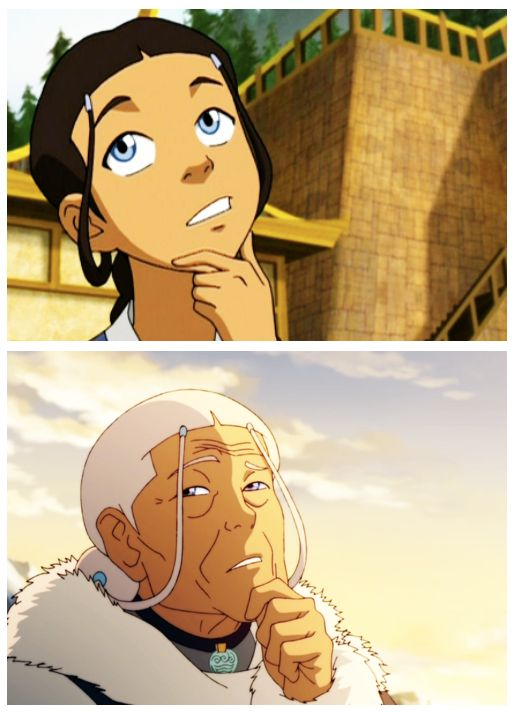 Young Katara Side By Side with Old Katara