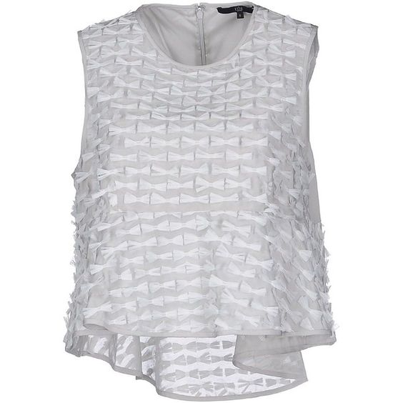 Tibi Top ($395) ❤ liked on Polyvore featuring tops, light grey, zip top, silk sleeveless top, sleeveless tops, zipper top and tibi top