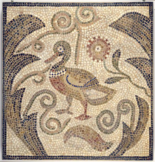 Roman Mosaic of Duck Facing Left in Vines, Hammam-Lif Synagogue, Tunisia.