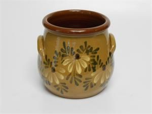 """Eldreth Pottery - Redware Crock 5 1/2"""" tall with handles"""