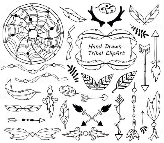 Clip Art Tribal Clip Art pinterest the worlds catalog of ideas hand drawn tribal clipart outline art dream catcher arrows antlers png