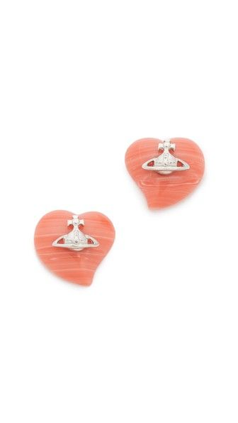 pretty coral heart earrings
