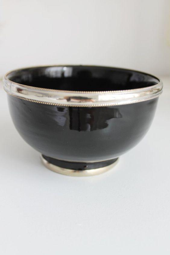 Marokkanische Schale mit Silberrand Ø: ca. 10 cm schwarz