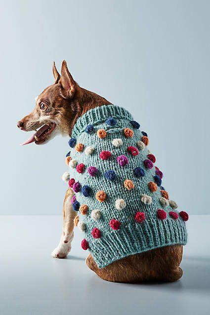 Anthropologie Pom Pom Dog Sweater
