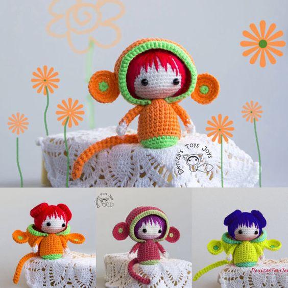 Monkey Doll. pdf crochet pattern. Tanoshi series by deniza17