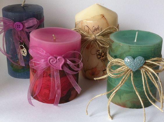 Candles velas decoradas con papel de arroz o servilletas - Servilletas de papel decoradas para manualidades ...