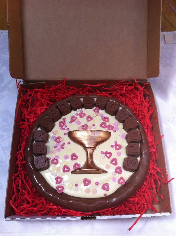 congratulations chocolate pizza - with handpainted chocolate champagne glass and confetti style sprinkles - from chocandroll on facebook