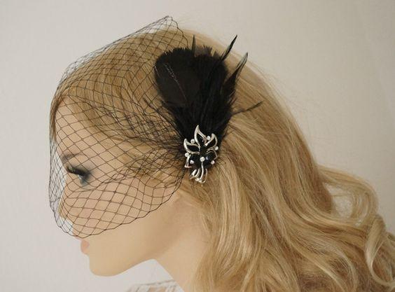 Headpieces & Fascinators - Fascinator, Schleier, Bird cage schwarz - ein Designerstück von Elizabethmode bei DaWanda
