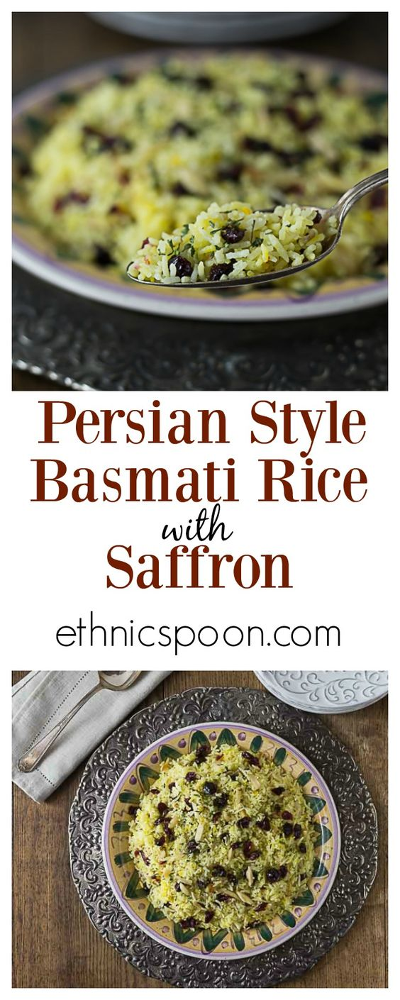 This delicious Persian style saffron rice with almonds and dried ...