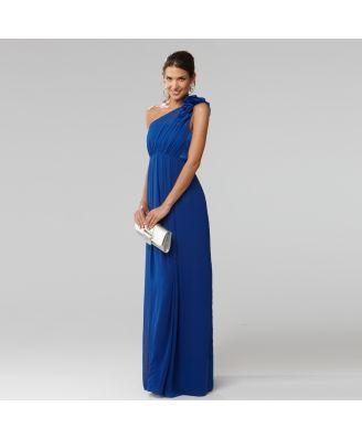 One Shoulder Blue Dress - Qi Dress