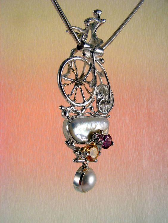 Gregory Pyra Piro #Schmuckkunst Silber und Gold mit #Edelsteinen Unikat #Anhängerschmuck Nr. 3896