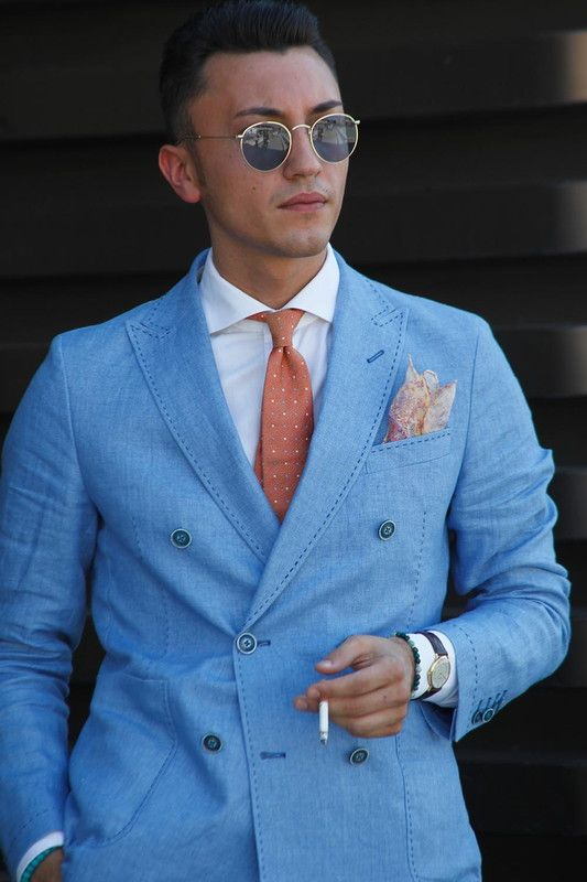 Light Blue Double Breasted Blazer Tie Combination | Men Fashion