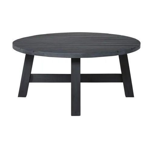 Round Black Solid Acacia Garden Coffee Table Home Moodboard Garden Garden Coffee Table Coffee Table Outdoor Coffee Tables