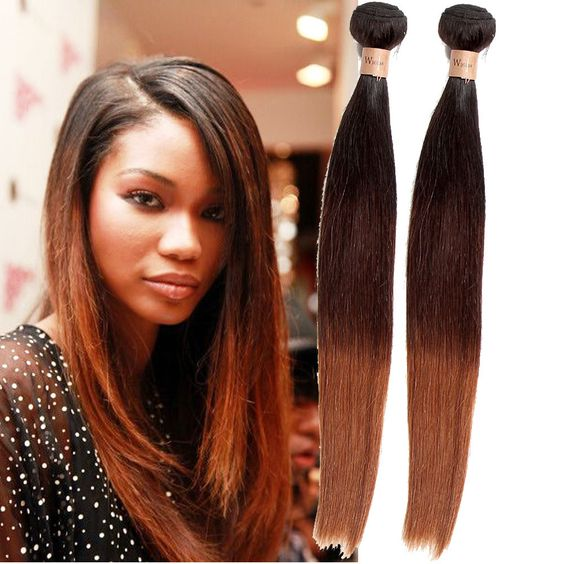 Ombre  Brazilian Virgin Hair Straight Ombre Human Hair Weaves 1B/4/30 Human Hair #wigiss #HairExtension