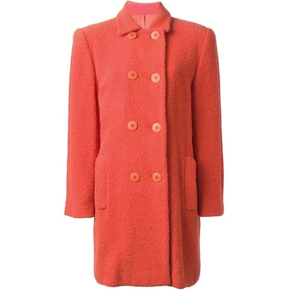 Stephen Sprouse Vintage Double Breasted Coat (4.430 BRL) ❤ liked on Polyvore featuring outerwear, coats, long sleeve coat, red double breasted coat, red coat, vintage coat and double-breasted coat