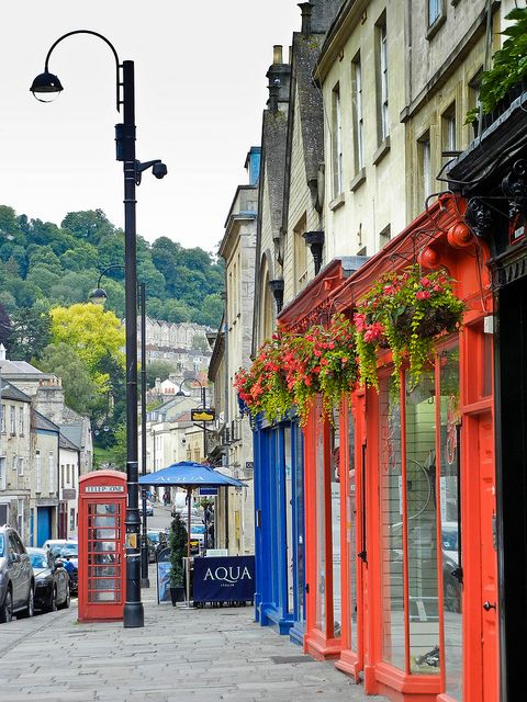 """Bath, England.  Think this is Walcot Street, which is full of """"Interiors"""" type shops.  Pick up a handmade rug, a gilt mirror or an antique chandelier. I prefer to shop in Bath rather than Bristol, as there are so many smaller, individual shops and boutiques, as well as all the usual chains."""