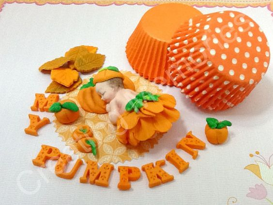 My Pumpkin  Fondant Baby Cake Topper  5 by anafeke on Etsy, $16.00