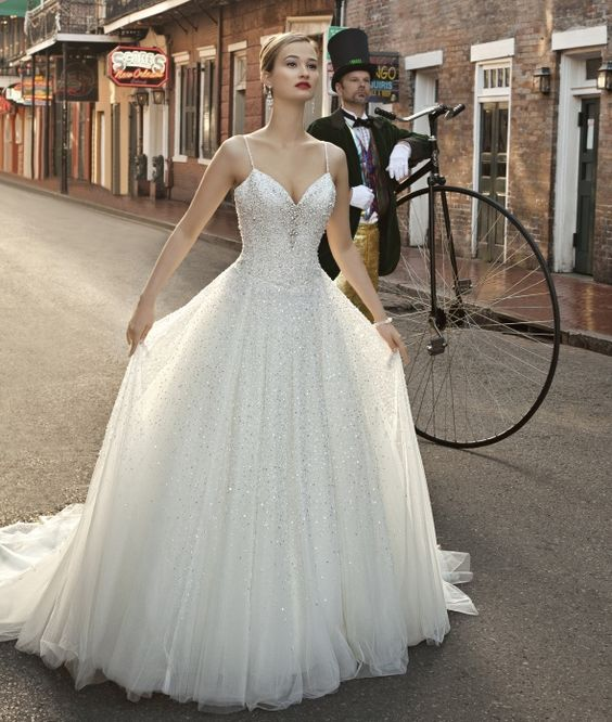 Fully Beaded Ballgown.Classic, Elegant Wedding Gown
