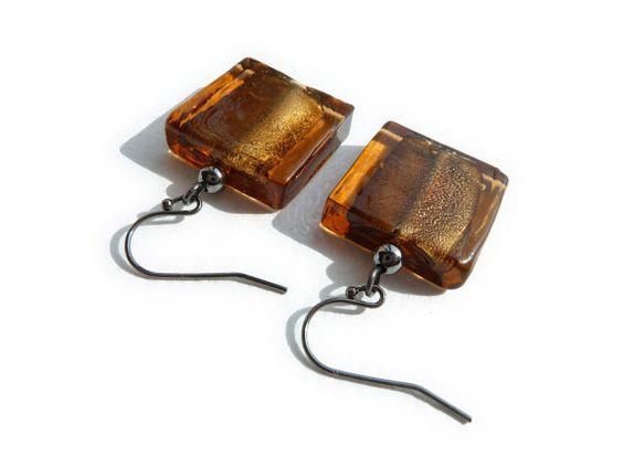 Brown Earrings  Topaz Drop Earrings  Square by annakingjewellery, £7.00