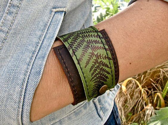 Leather Cuff Bracelet Wrap Fern Print in Brown & by Hollyhawk, $27.50