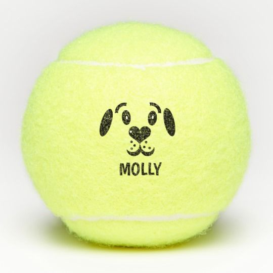 Cute Cartoon Dog Face Custom Name Personalized Tennis Balls Zazzle Com Cartoon Dog Dog Face Cute Cartoon