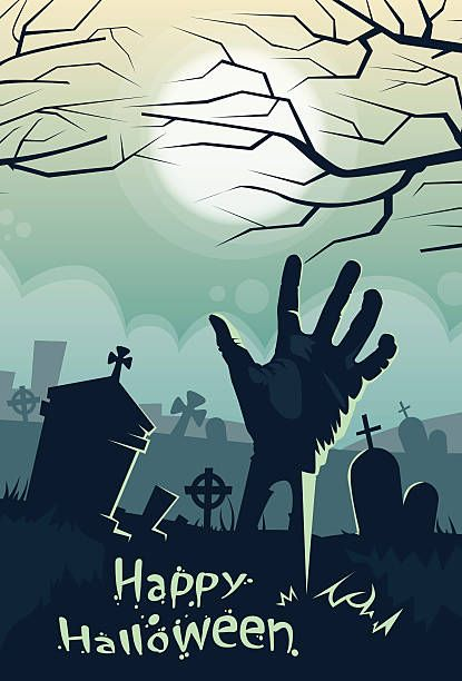 Halloween-Banner im Retro-Friedhof Friedhof Hand aus dem Boden-Karte – Vektorgrafik