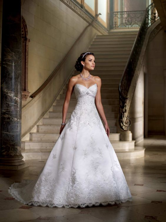 David Tutera Strapless satin and lace appliqué full A-line wedding dress with sweetheart neckline