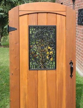 Aluminum cast black rectangle wooden gate decorative for 15 lite door insert