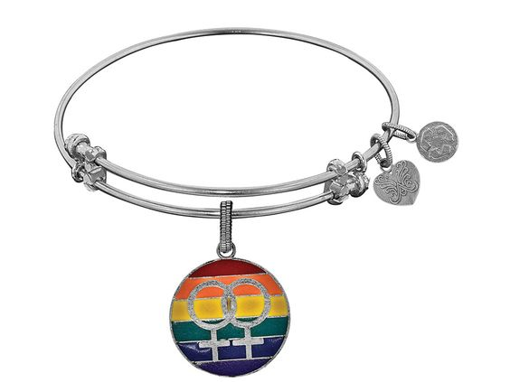 Brass With White Finish Lgbtq Pride Enamel Charm For Angelica Collection Bangle