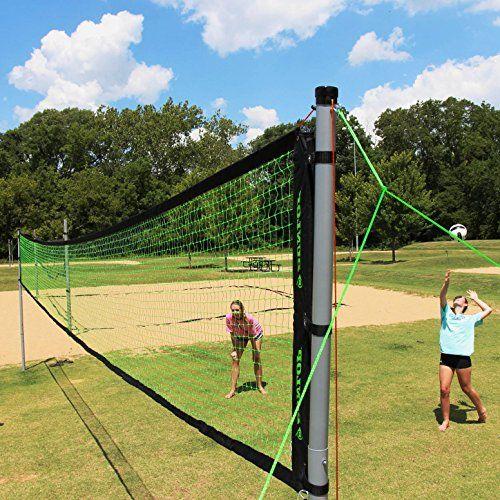 Volleyball Badminton Set Net Portable Adjustable Poles 4 Rackets Kids Family Fun Sports Beach Park Backyard In 2020 Badminton Set Outdoor Volleyball Net Volleyball Set