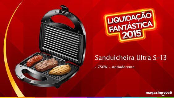 Liquidação fantástica 2015 - Sanduicheira Ultra S-13 - 750W - Antiaderente - Visite nossa loja Magazine Dufrom no site: www.magazinevoce.com.br/magazinedufrom/ E-mail: engefrom@uol.com.br | MAGAZINE DUFROM, todos os dias com ofertas incríveis para voce.
