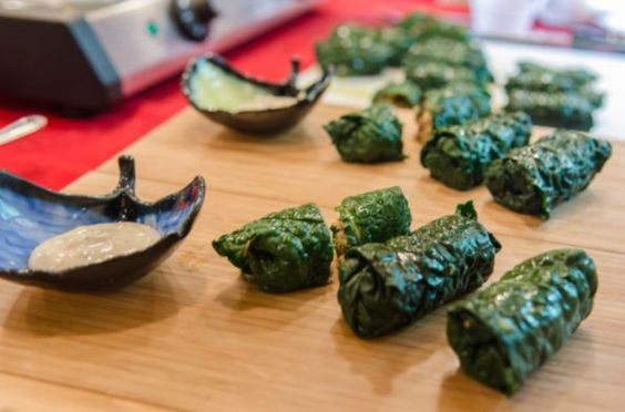 Caledonian Dolmades, steel cut oats, pistachios, scallions, dried cherries, and wonderful spices stuffed in Kale leaves! Can't wait to try it!