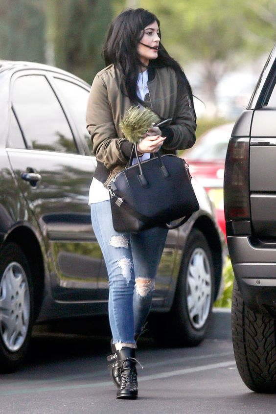 Kylie brings this Topshop jacket with her everywhere she goes. The olive-green hue looks great with virtually everything in her vast closet.