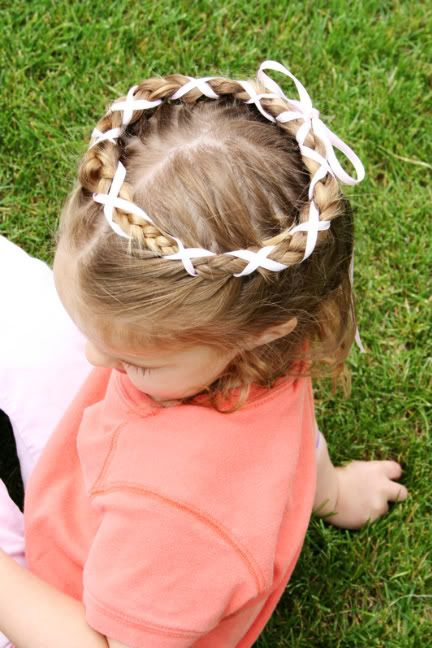 French Braid Crown with Ribbon. I wish I could do better braids!