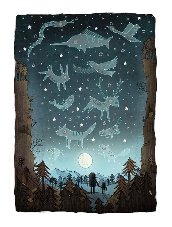 Brendan Kearney - Illustration and design // White chalk on dark paper - students learn about constellations and create their own... maybe pierce small holes where the stars are?